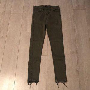 Olive green flying monkey skinny jeans